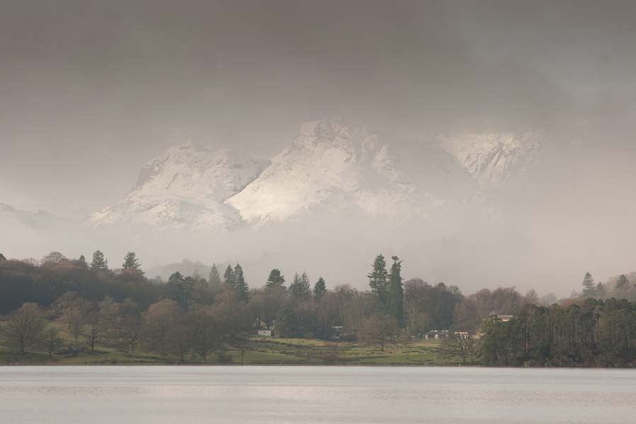 A great view for couple getting married in the Lake District, looking towards the Langdales from The Low Wood BAy.