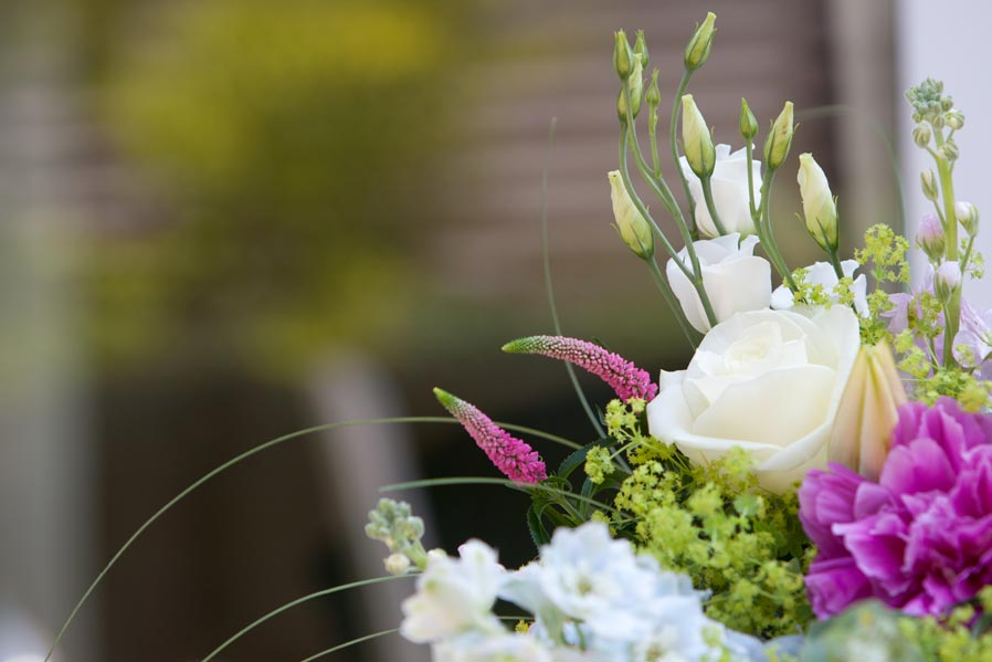 A close up colour image of Lake District wedding flowers.