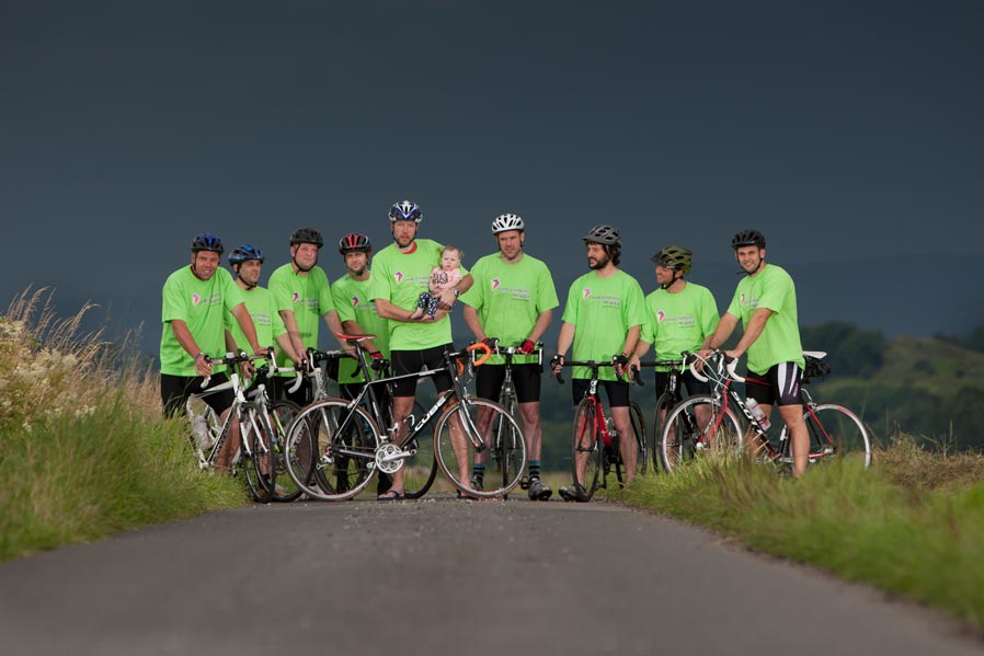 Colour photograph of riders preparing for the Lands End to John O