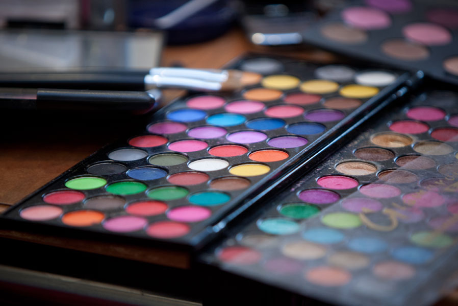 A colourful palette of wedding make-up at a wedding in Kendal.