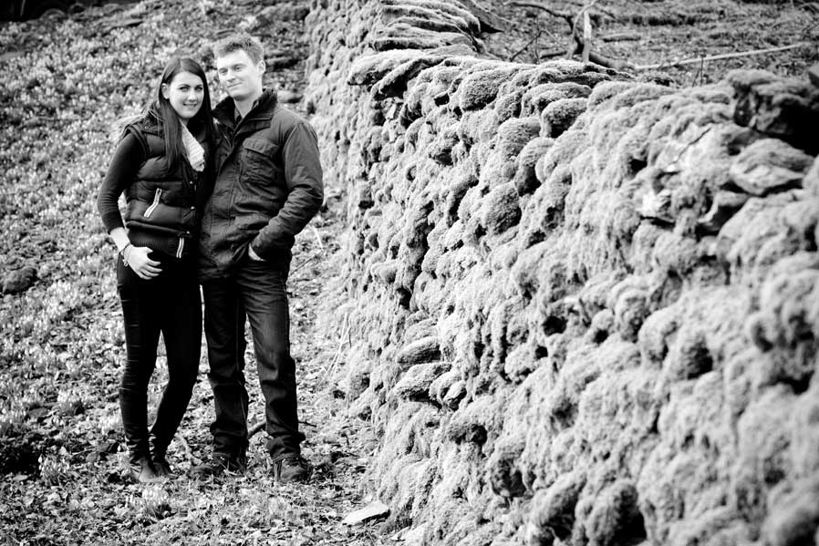 A black and white image of a young couple in the Lake District