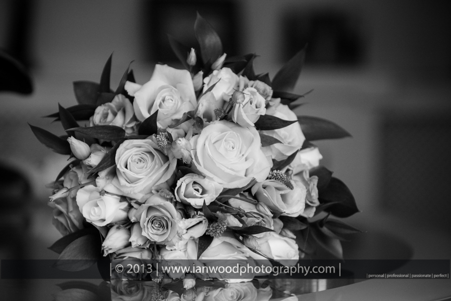 A black and white photograph of  brides bouquet.