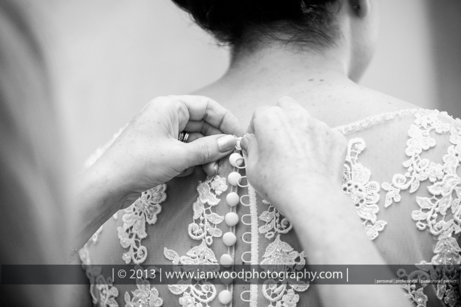 A black and white photograph of bridal preparations.