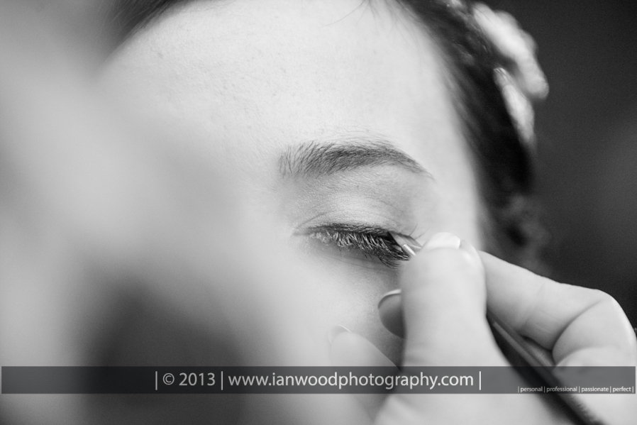 Mascara being applied to a Brides eyes.