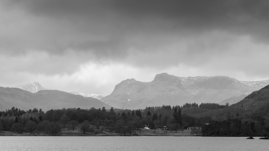 View of the Langdales from a wedding at Low Wood bay.